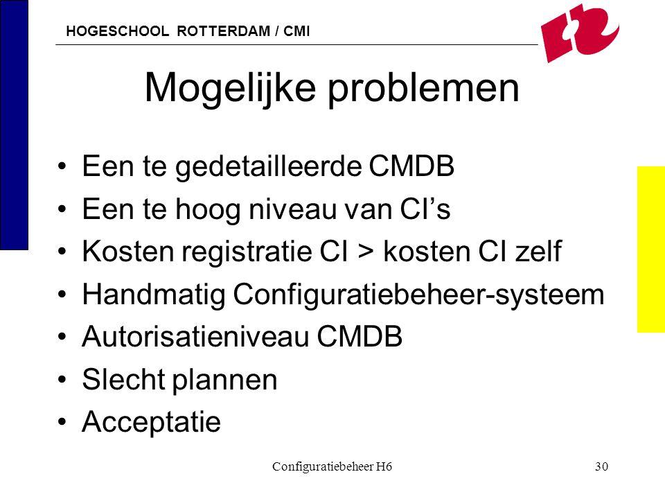 HOGESCHOOL ROTTERDAM / CMI Configuratiebeheer H630 Mogelijke problemen Een te gedetailleerde CMDB Een te hoog niveau van CI's Kosten registratie CI >