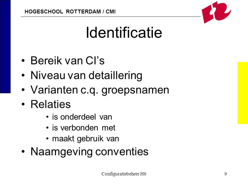 HOGESCHOOL ROTTERDAM / CMI Configuratiebeheer H69 Identificatie Bereik van CI's Niveau van detaillering Varianten c.q. groepsnamen Relaties is onderde