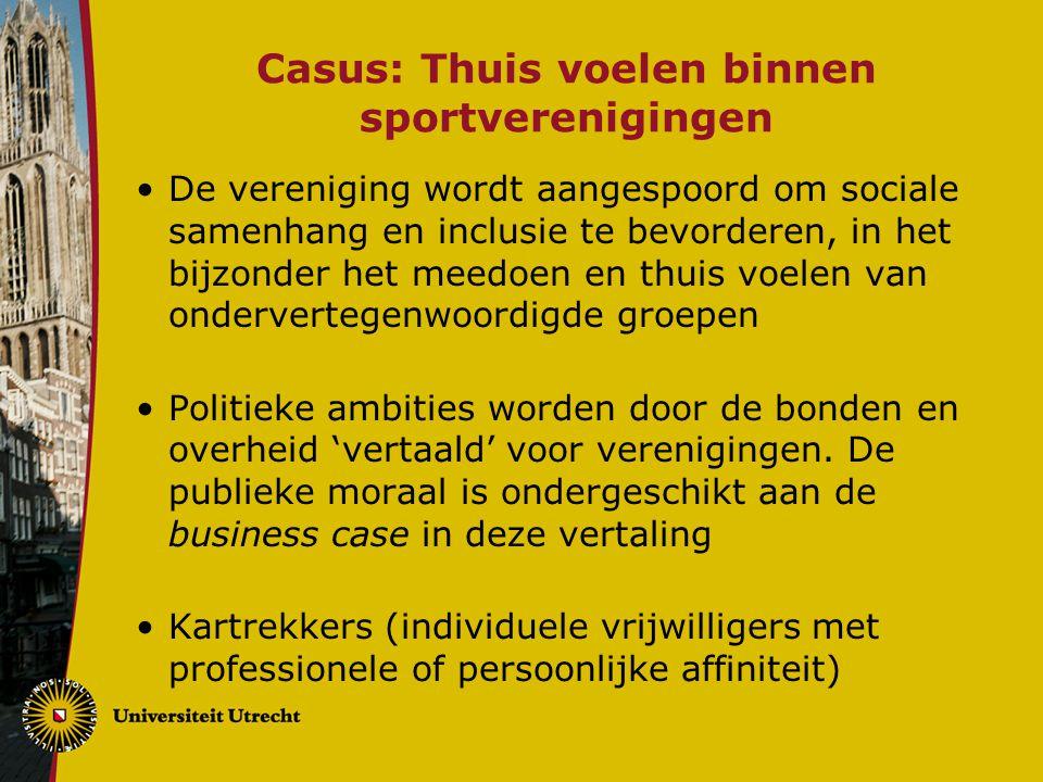Casus: Thuis voelen binnen sportverenigingen De vereniging wordt aangespoord om sociale samenhang en inclusie te bevorderen, in het bijzonder het meed