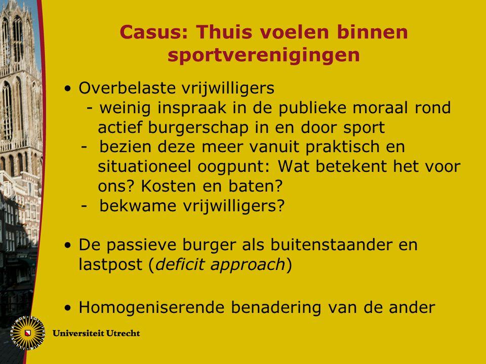 Casus: Thuis voelen binnen sportverenigingen Overbelaste vrijwilligers - weinig inspraak in de publieke moraal rond actief burgerschap in en door spor