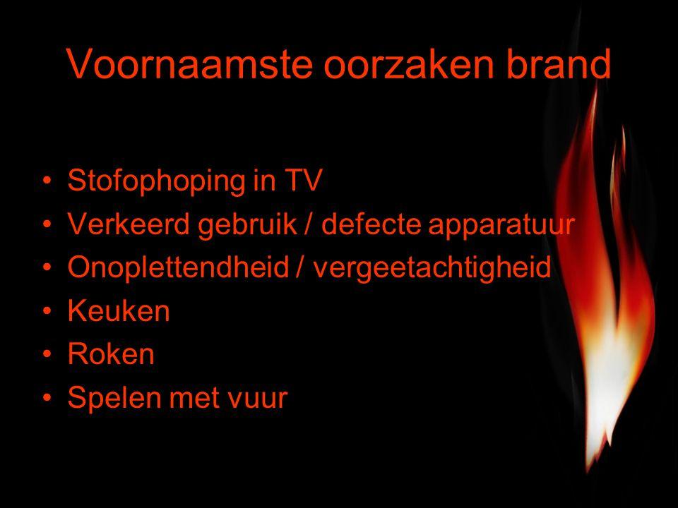 Voornaamste oorzaken brand Stofophoping in TV Verkeerd gebruik / defecte apparatuur Onoplettendheid / vergeetachtigheid Keuken Roken Spelen met vuur