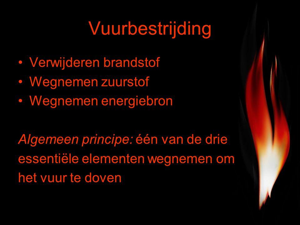 Vuurbestrijding Verwijderen brandstof Wegnemen zuurstof Wegnemen energiebron Algemeen principe: één van de drie essentiële elementen wegnemen om het vuur te doven