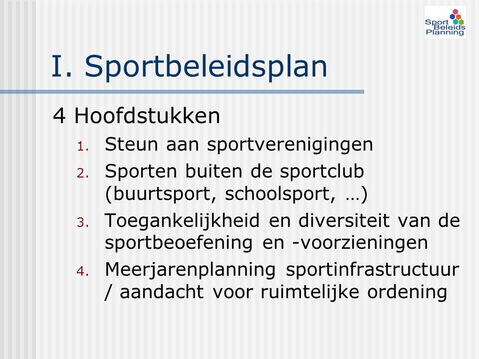 I. Sportbeleidsplan 4 Hoofdstukken 1. Steun aan sportverenigingen 2. Sporten buiten de sportclub (buurtsport, schoolsport, …) 3. Toegankelijkheid en d