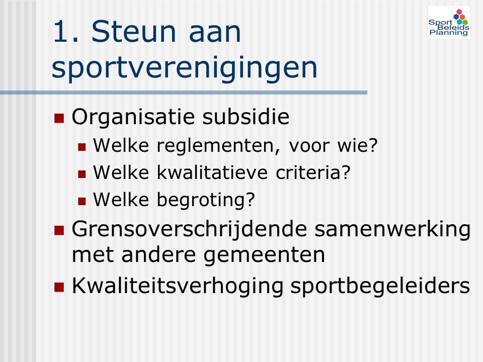 1. Steun aan sportverenigingen Organisatie subsidie Welke reglementen, voor wie? Welke kwalitatieve criteria? Welke begroting? Grensoverschrijdende sa