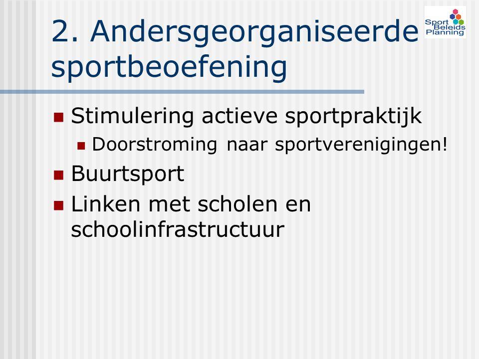 2. Andersgeorganiseerde sportbeoefening Stimulering actieve sportpraktijk Doorstroming naar sportverenigingen! Buurtsport Linken met scholen en school