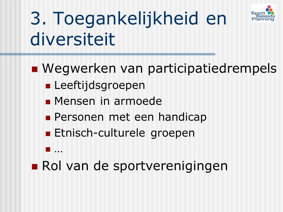 3. Toegankelijkheid en diversiteit Wegwerken van participatiedrempels Leeftijdsgroepen Mensen in armoede Personen met een handicap Etnisch-culturele g