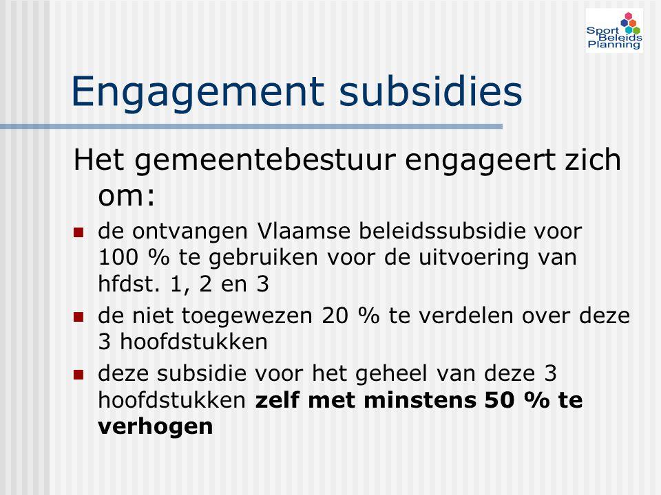 Engagement subsidies Het gemeentebestuur engageert zich om: de ontvangen Vlaamse beleidssubsidie voor 100 % te gebruiken voor de uitvoering van hfdst.