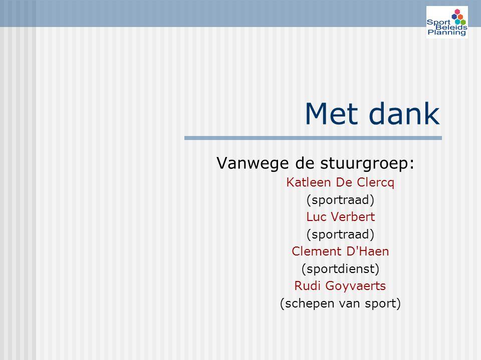 Met dank Vanwege de stuurgroep: Katleen De Clercq (sportraad) Luc Verbert (sportraad) Clement D Haen (sportdienst) Rudi Goyvaerts (schepen van sport)