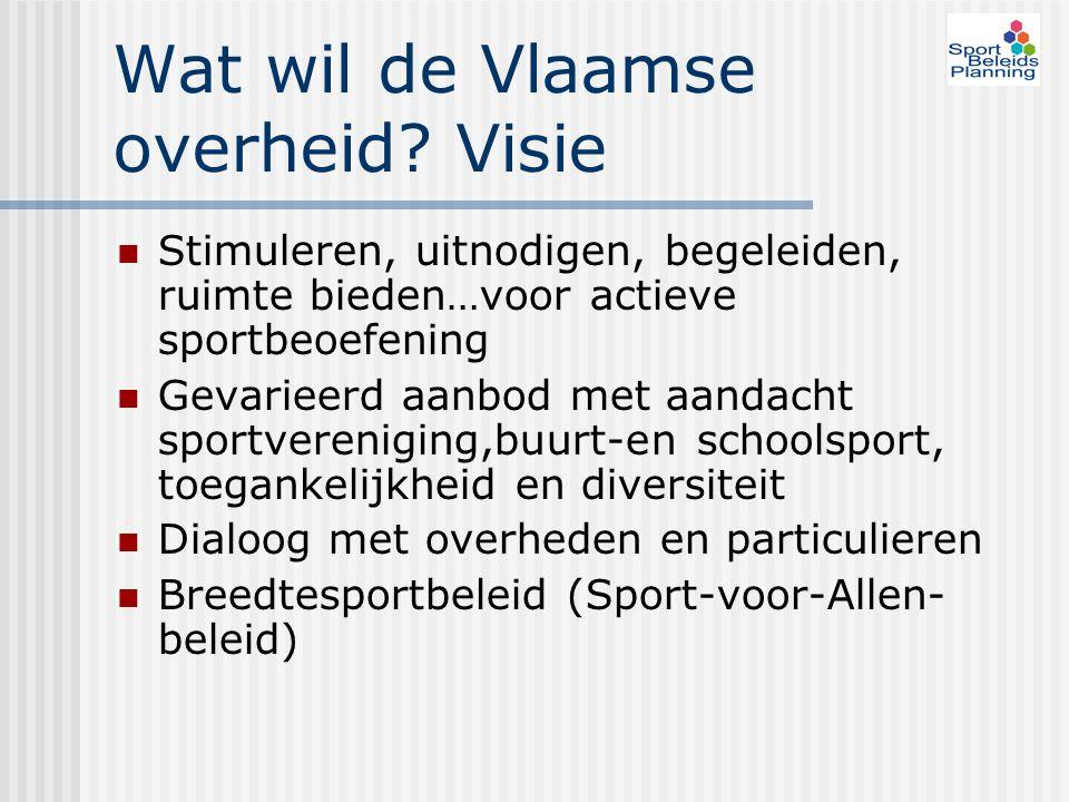 Wat wil de Vlaamse overheid? Visie Stimuleren, uitnodigen, begeleiden, ruimte bieden…voor actieve sportbeoefening Gevarieerd aanbod met aandacht sport