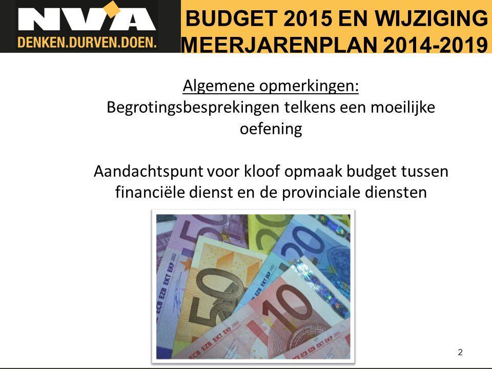 BUDGET 2015 EN WIJZIGING MEERJARENPLAN 2014-2019 2 Algemene opmerkingen: Begrotingsbesprekingen telkens een moeilijke oefening Aandachtspunt voor kloof opmaak budget tussen financiële dienst en de provinciale diensten