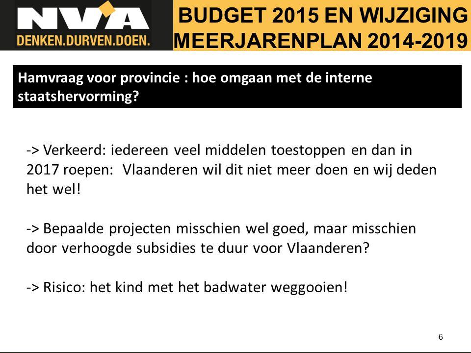 6 -> Verkeerd: iedereen veel middelen toestoppen en dan in 2017 roepen: Vlaanderen wil dit niet meer doen en wij deden het wel.