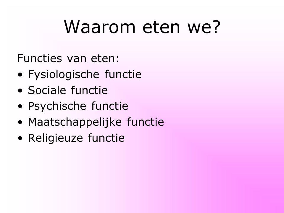Waarom eten we? Functies van eten: Fysiologische functie Sociale functie Psychische functie Maatschappelijke functie Religieuze functie