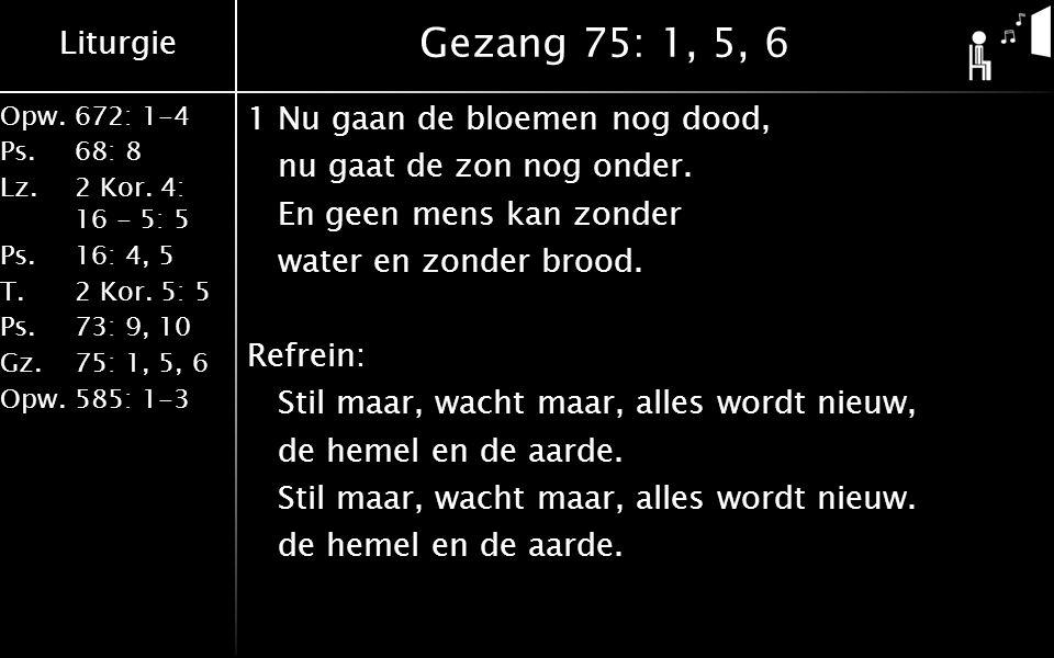 Liturgie Opw.672: 1-4 Ps. 68: 8 Lz. 2 Kor. 4: 16 - 5: 5 Ps. 16: 4, 5 T. 2 Kor. 5: 5 Ps. 73: 9, 10 Gz. 75: 1, 5, 6 Opw. 585: 1-3 Gezang 75: 1, 5, 6 1Nu