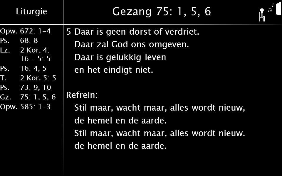 Liturgie Opw.672: 1-4 Ps. 68: 8 Lz. 2 Kor. 4: 16 - 5: 5 Ps. 16: 4, 5 T. 2 Kor. 5: 5 Ps. 73: 9, 10 Gz. 75: 1, 5, 6 Opw. 585: 1-3 Gezang 75: 1, 5, 6 5Da