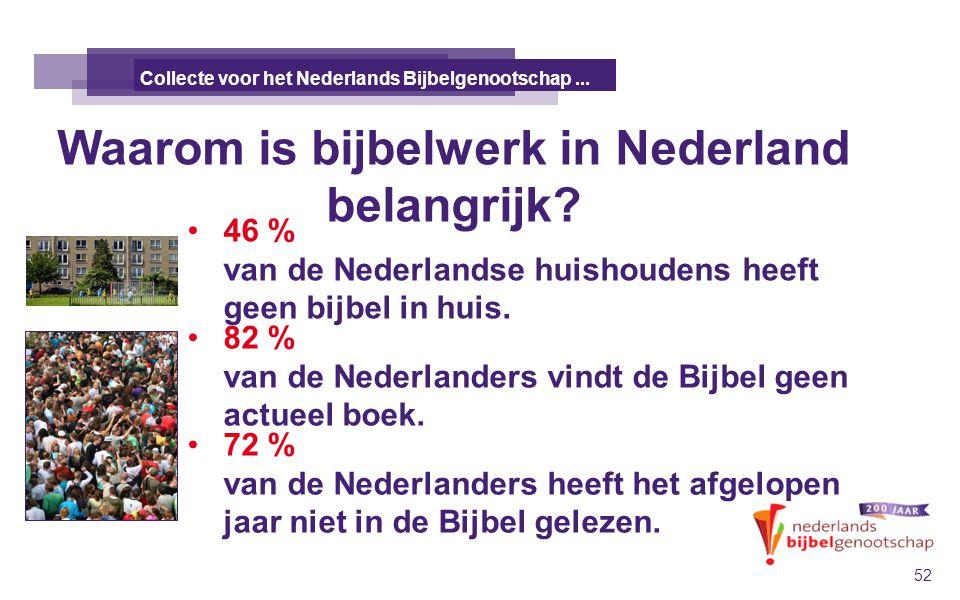 Waarom is bijbelwerk in Nederland belangrijk? DE TALE KANAÄNS 52 Collecte voor het Nederlands Bijbelgenootschap... 46 % van de Nederlandse huishoudens