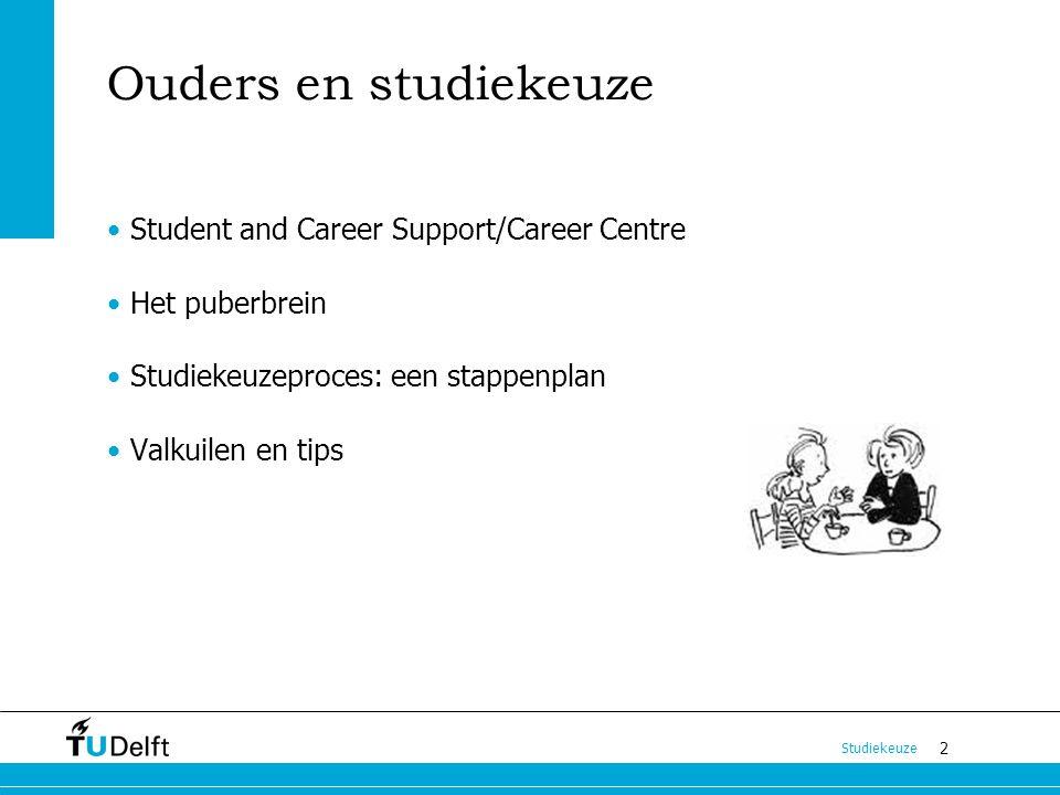 2 Studiekeuze Ouders en studiekeuze Student and Career Support/Career Centre Het puberbrein Studiekeuzeproces: een stappenplan Valkuilen en tips