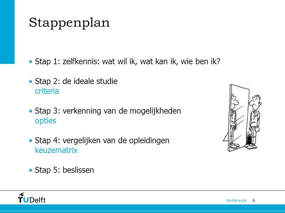6 Studiekeuze Stappenplan Stap 1: zelfkennis: wat wil ik, wat kan ik, wie ben ik? Stap 2: de ideale studie criteria Stap 3: verkenning van de mogelijk