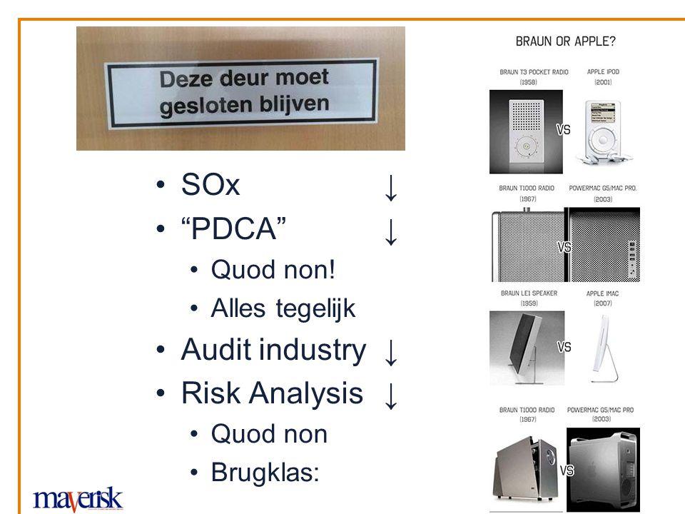 "SOx ↓ ""PDCA""↓ Quod non! Alles tegelijk Audit industry ↓ Risk Analysis ↓ Quod non Brugklas:"