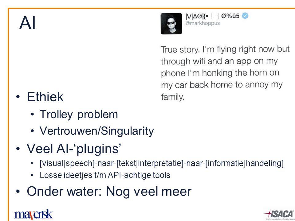 Ethiek Trolley problem Vertrouwen/Singularity Veel AI-'plugins' [visual|speech]-naar-[tekst|interpretatie]-naar-[informatie|handeling] Losse ideetjes t/m API-achtige tools Onder water: Nog veel meer