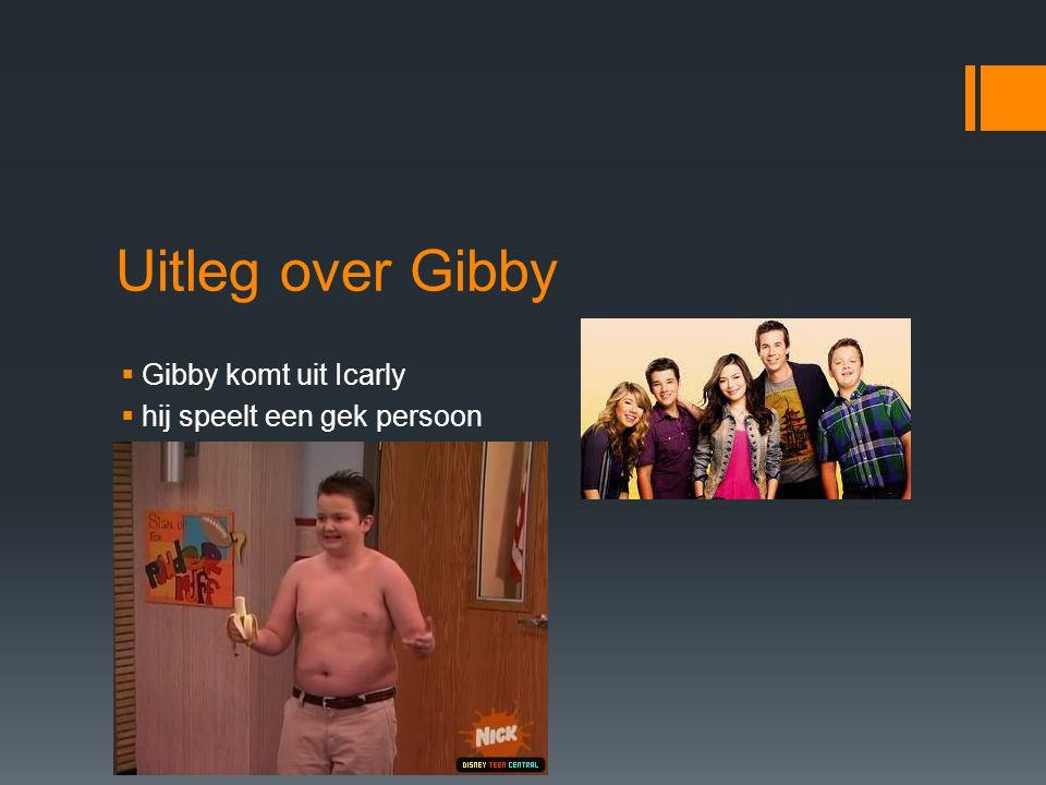 Uitleg over Gibby  Gibby komt uit Icarly  hij speelt een gek persoon  Hij doet graag zijn bloes uit