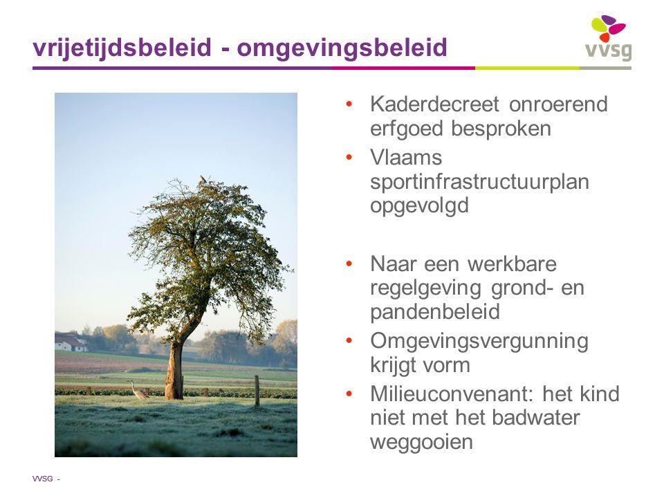 VVSG - Kaderdecreet onroerend erfgoed besproken Vlaams sportinfrastructuurplan opgevolgd Naar een werkbare regelgeving grond- en pandenbeleid Omgeving