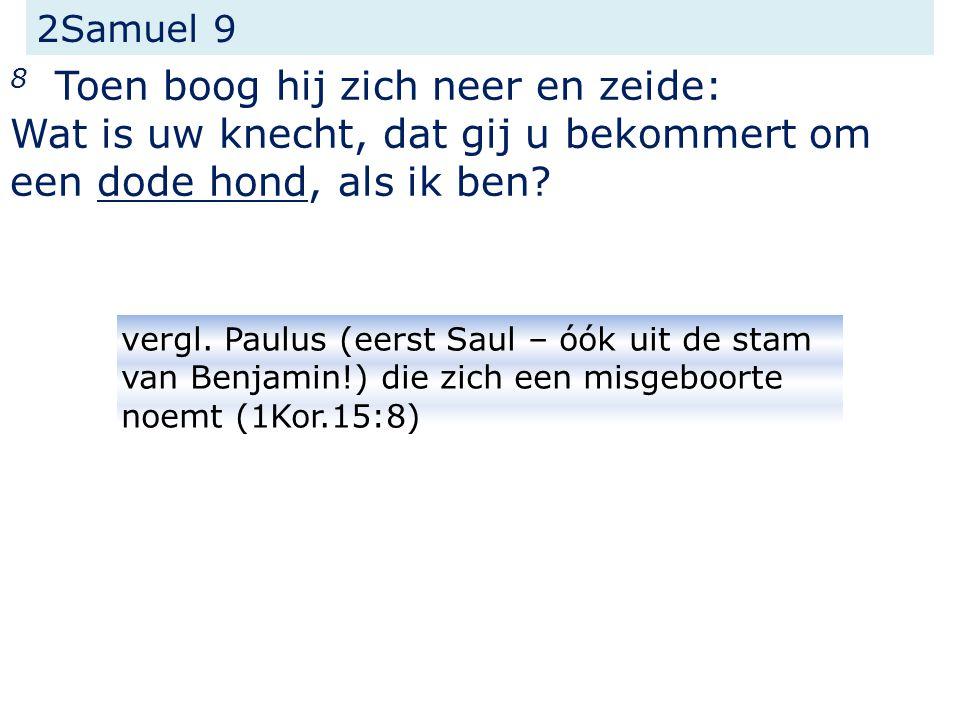 2Samuel 9 8 Toen boog hij zich neer en zeide: Wat is uw knecht, dat gij u bekommert om een dode hond, als ik ben.