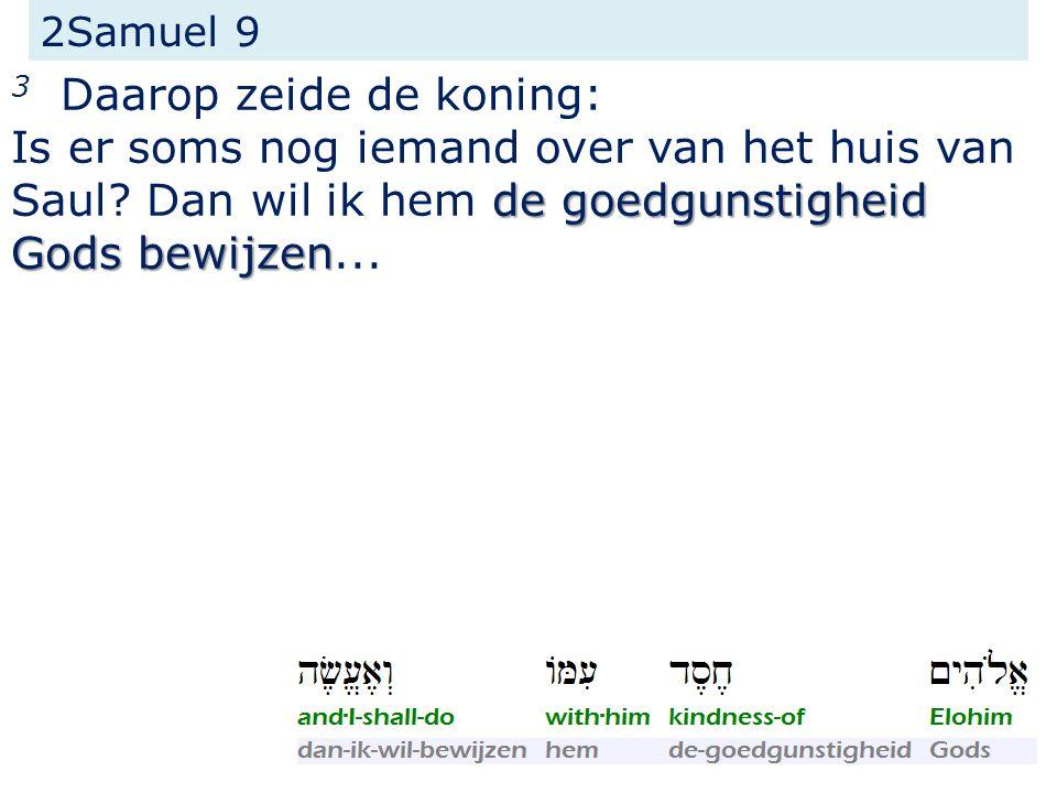 2Samuel 9 3 Daarop zeide de koning: de goedgunstigheid Gods bewijzen Is er soms nog iemand over van het huis van Saul.