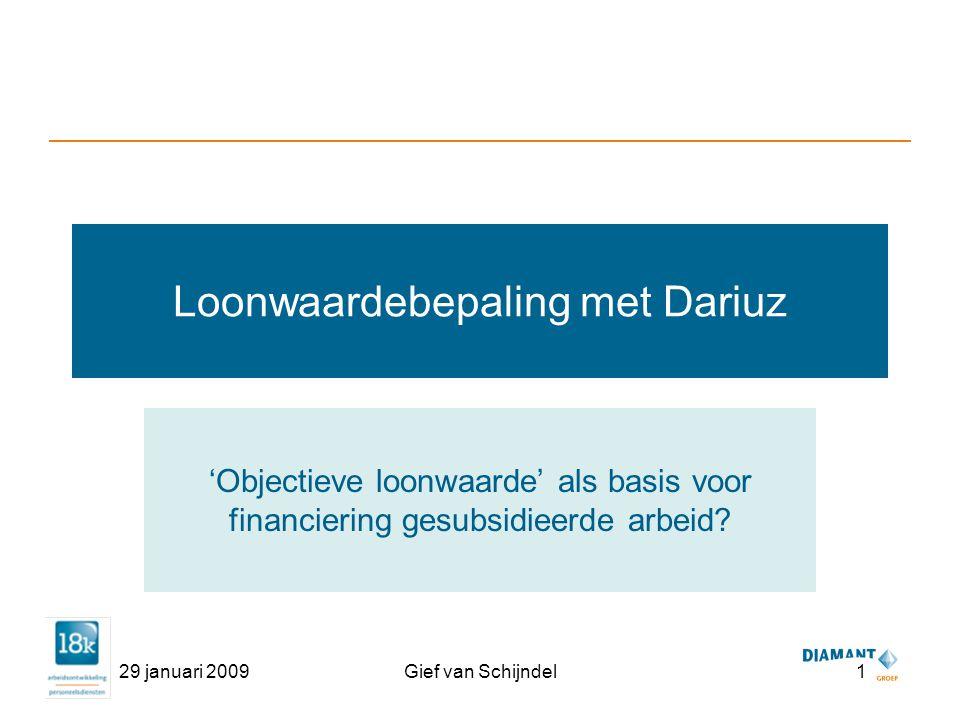 29 januari 2009Gief van Schijndel1 Loonwaardebepaling met Dariuz 'Objectieve loonwaarde' als basis voor financiering gesubsidieerde arbeid