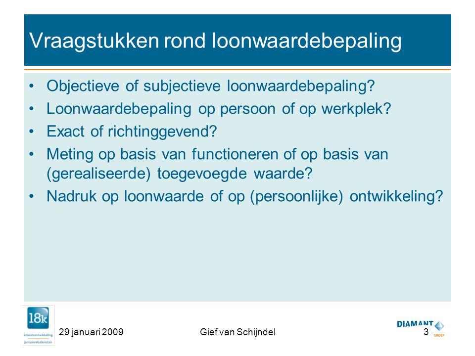 29 januari 2009Gief van Schijndel3 Vraagstukken rond loonwaardebepaling Objectieve of subjectieve loonwaardebepaling.
