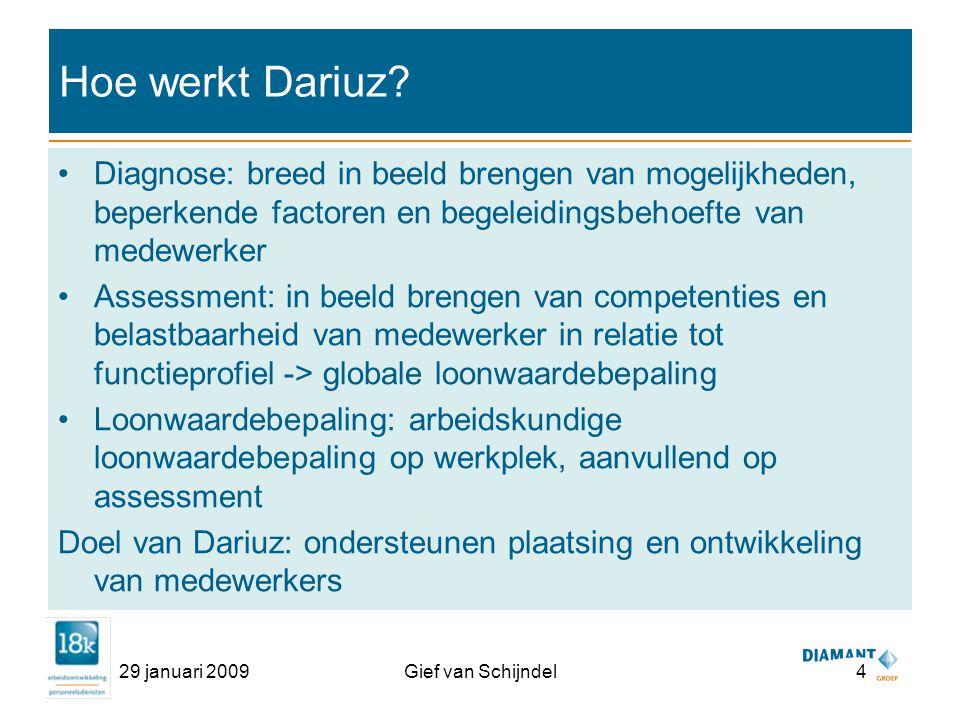 29 januari 2009Gief van Schijndel4 Hoe werkt Dariuz.