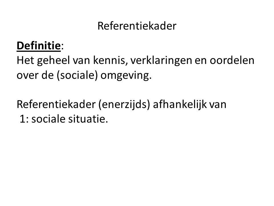 Referentiekader Definitie: Het geheel van kennis, verklaringen en oordelen over de (sociale) omgeving. Referentiekader (enerzijds) afhankelijk van 1: