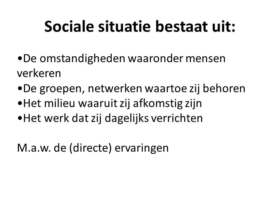 Sociale situatie bestaat uit: De omstandigheden waaronder mensen verkeren De groepen, netwerken waartoe zij behoren Het milieu waaruit zij afkomstig z
