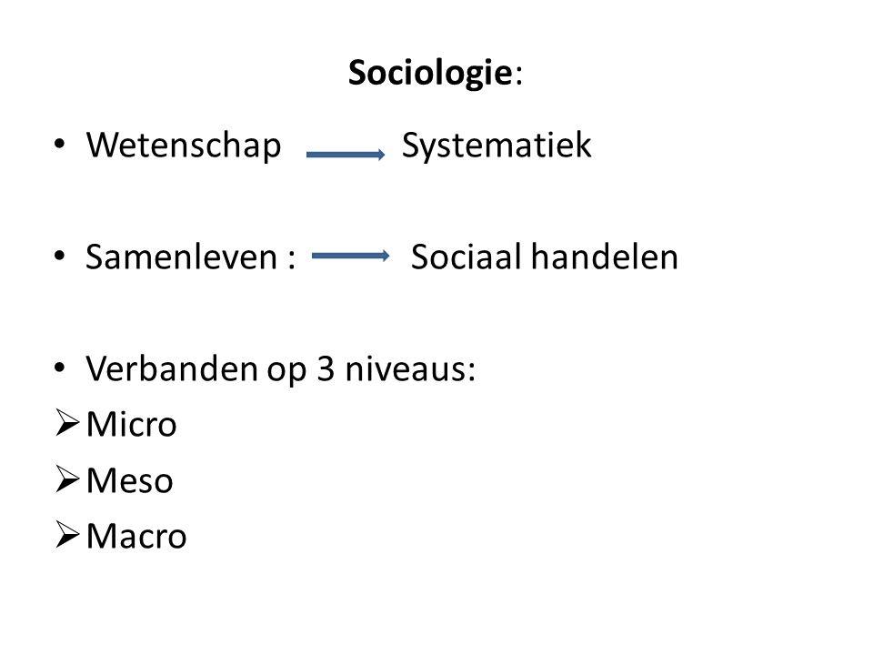 Sociologie: Wetenschap Systematiek Samenleven : Sociaal handelen Verbanden op 3 niveaus:  Micro  Meso  Macro