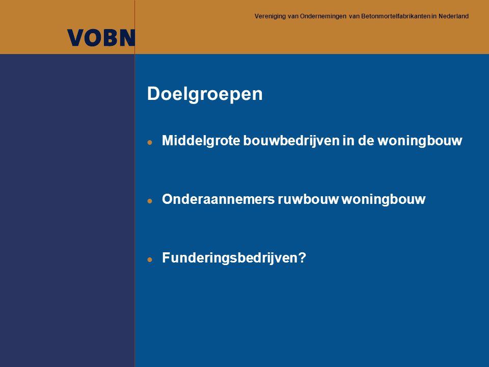 Vereniging van Ondernemingen van Betonmortelfabrikanten in Nederland Doelgroepen l Middelgrote bouwbedrijven in de woningbouw l Onderaannemers ruwbouw