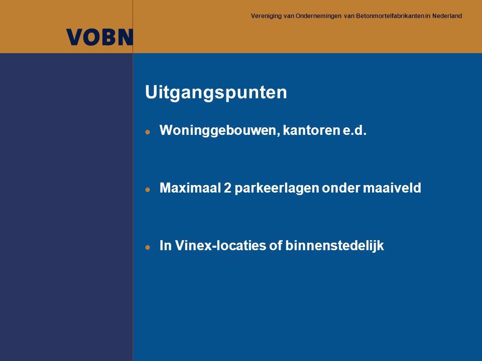 Vereniging van Ondernemingen van Betonmortelfabrikanten in Nederland Uitgangspunten l Woninggebouwen, kantoren e.d. l Maximaal 2 parkeerlagen onder ma