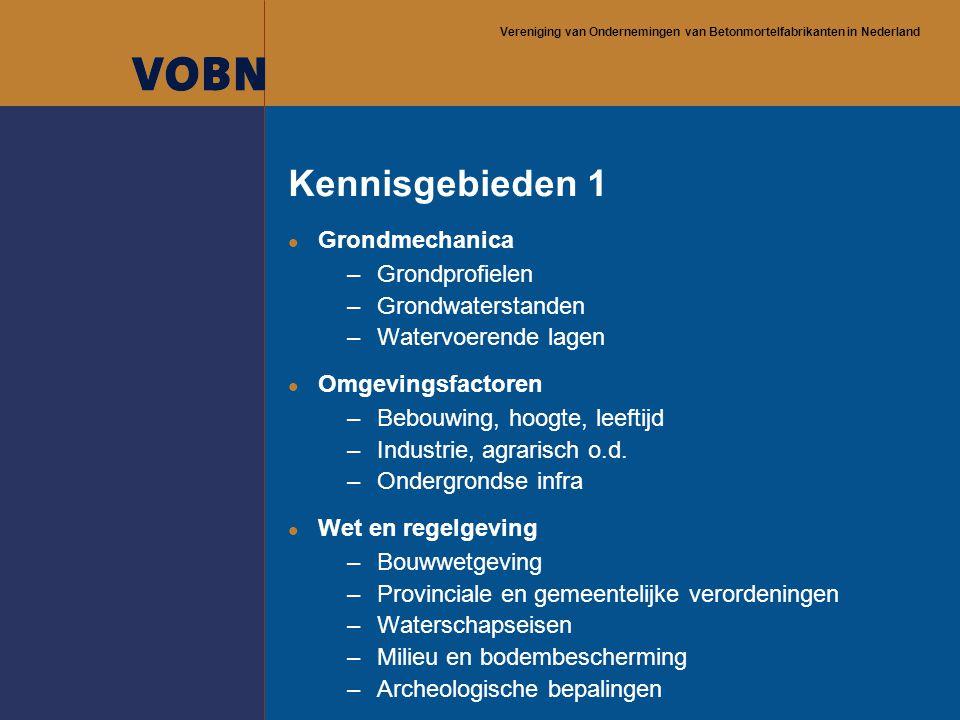 Vereniging van Ondernemingen van Betonmortelfabrikanten in Nederland Kennisgebieden 1 l Grondmechanica –Grondprofielen –Grondwaterstanden –Watervoeren