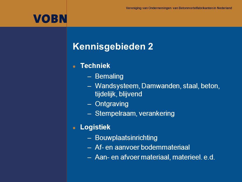 Vereniging van Ondernemingen van Betonmortelfabrikanten in Nederland Kennisgebieden 2 l Techniek –Bemaling –Wandsysteem, Damwanden, staal, beton, tijd