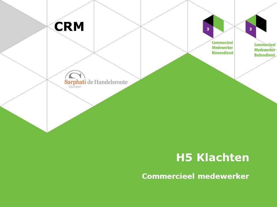Wat is een klacht Klachtenprocedure Afhandelen van een klacht Soorten klachten Conflicthantering Thomas-Kilmann-model 2 CRM   Commercieel medewerker Klachten