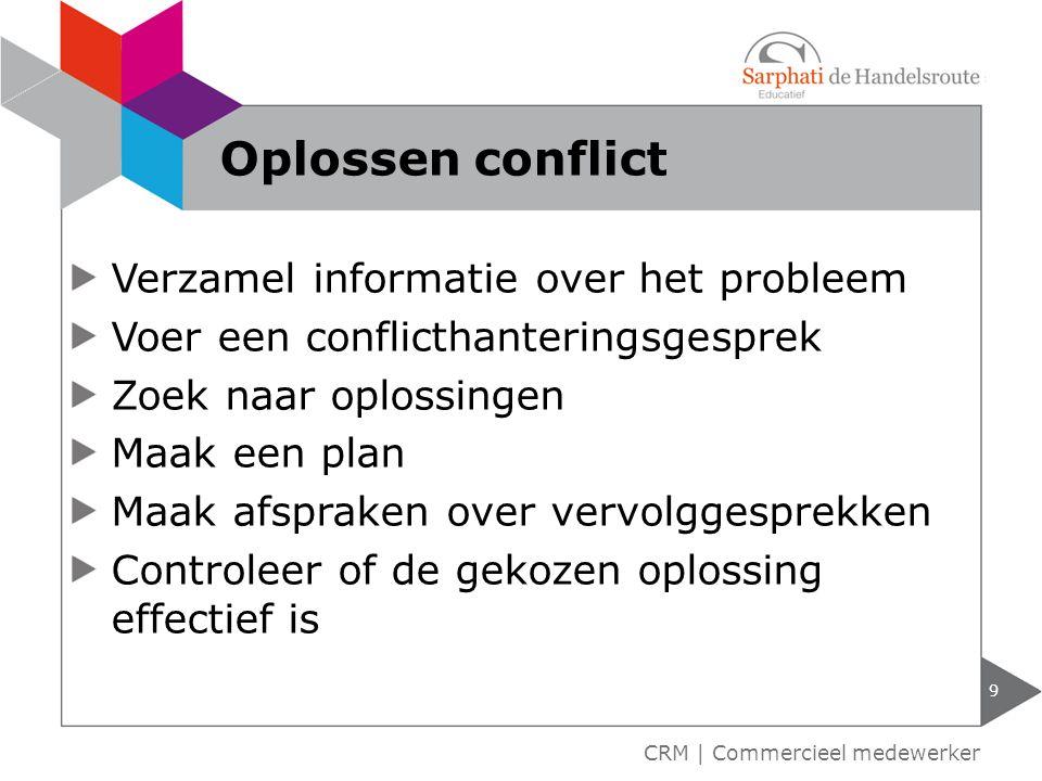 Verzamel informatie over het probleem Voer een conflicthanteringsgesprek Zoek naar oplossingen Maak een plan Maak afspraken over vervolggesprekken Con