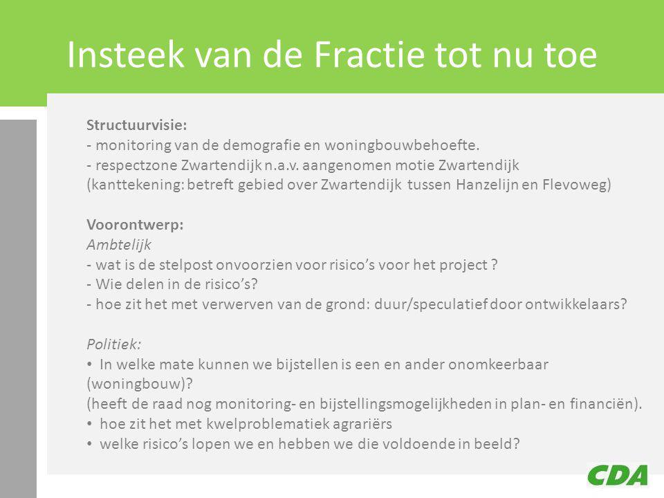 Insteek van de Fractie tot nu toe Structuurvisie: - monitoring van de demografie en woningbouwbehoefte.