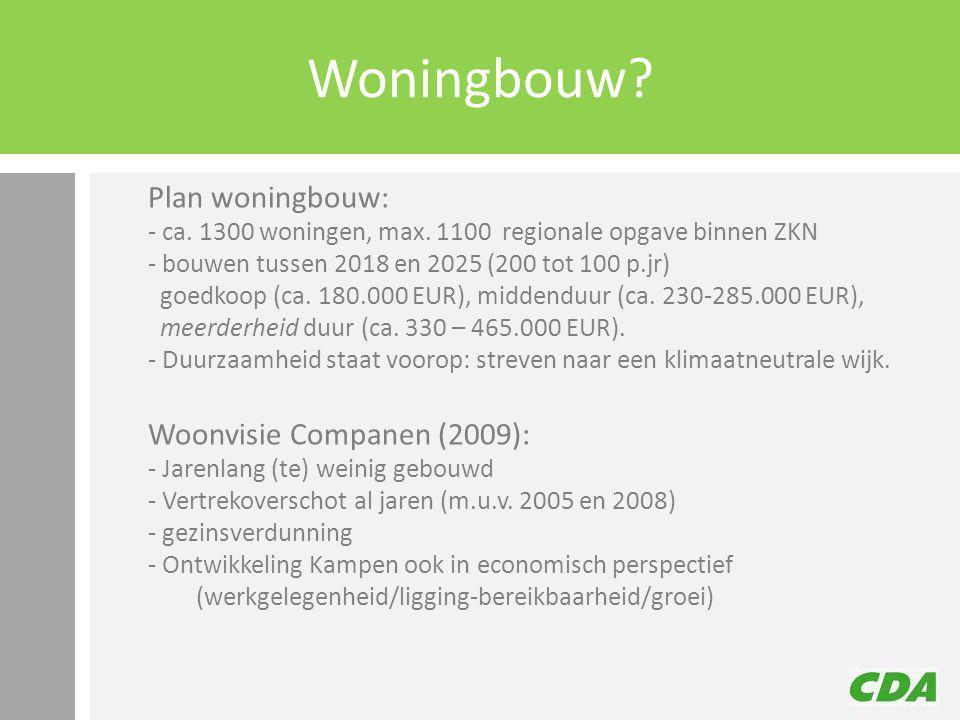 Woningbouw? Plan woningbouw: - ca. 1300 woningen, max. 1100 regionale opgave binnen ZKN - bouwen tussen 2018 en 2025 (200 tot 100 p.jr) goedkoop (ca.