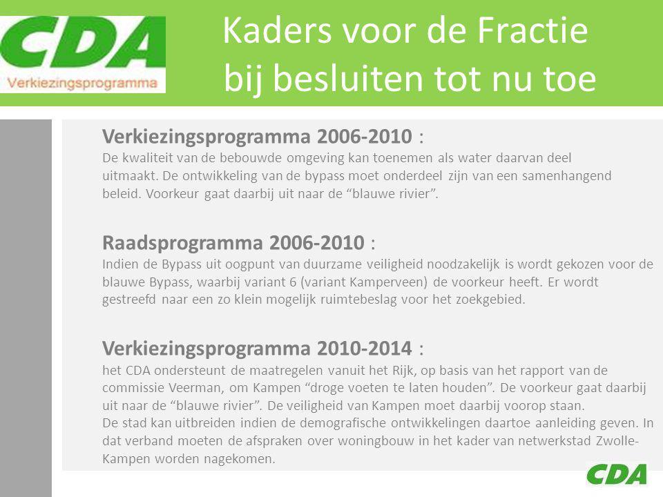 Kaders voor de Fractie bij besluiten tot nu toe Verkiezingsprogramma 2006-2010 : De kwaliteit van de bebouwde omgeving kan toenemen als water daarvan deel uitmaakt.