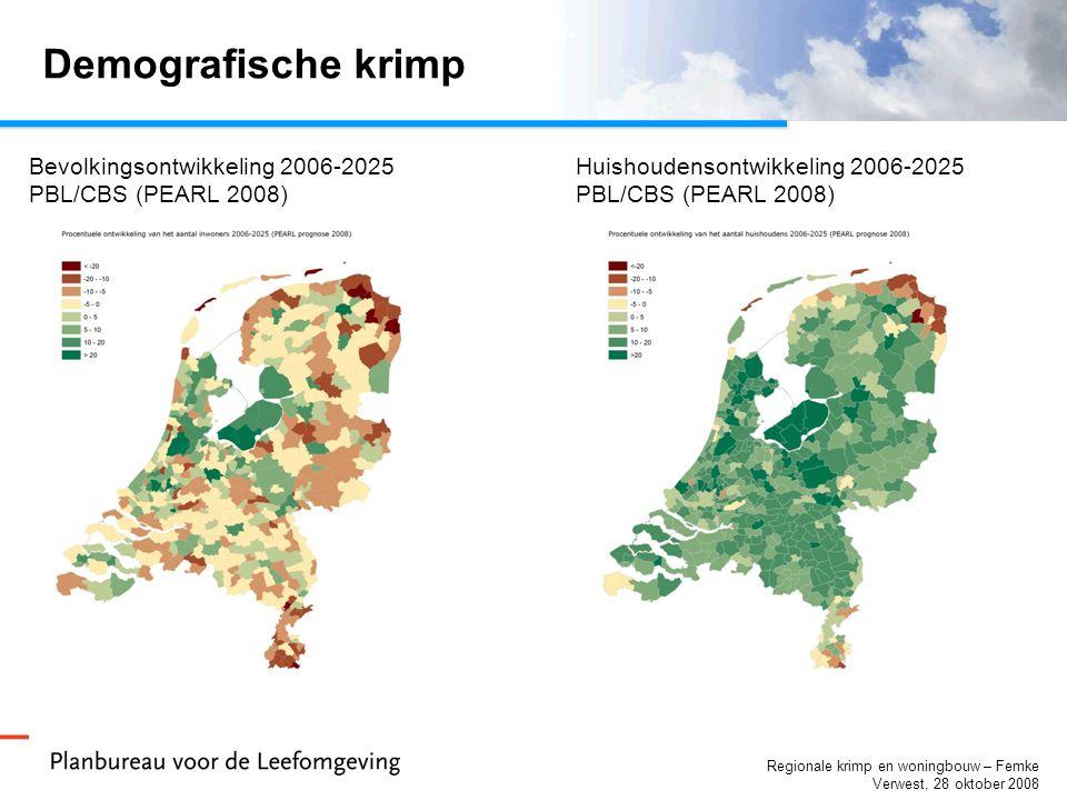 Regionale krimp en woningbouw – Femke Verwest, 28 oktober 2008 Demografische krimp Bevolkingsontwikkeling 2006-2025 PBL/CBS (PEARL 2008) Huishoudensontwikkeling 2006-2025 PBL/CBS (PEARL 2008)