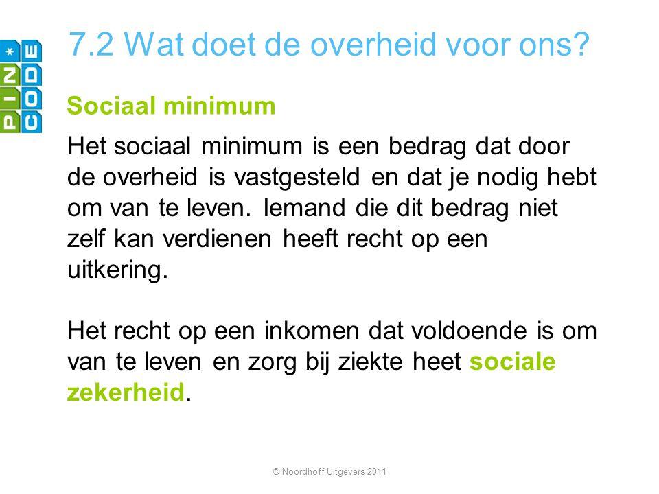 7.2 Wat doet de overheid voor ons? Sociaal minimum Het sociaal minimum is een bedrag dat door de overheid is vastgesteld en dat je nodig hebt om van t