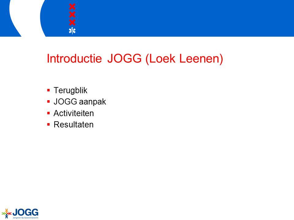 Introductie JOGG (Loek Leenen)  Terugblik  JOGG aanpak  Activiteiten  Resultaten