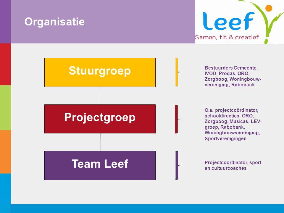 Organisatie Stuurgroep Projectgroep Team Leef Bestuurders Gemeente, IVOD, Prodas, ORO, Zorgboog, Woningbouw- vereniging, Rabobank O.a.