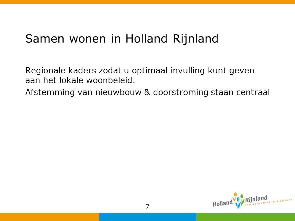 Samen wonen in Holland Rijnland Regionale kaders zodat u optimaal invulling kunt geven aan het lokale woonbeleid. Afstemming van nieuwbouw & doorstrom