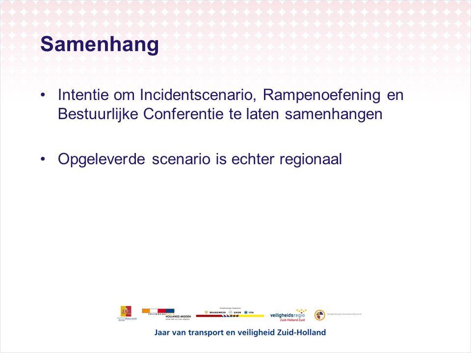 Samenhang Intentie om Incidentscenario, Rampenoefening en Bestuurlijke Conferentie te laten samenhangen Opgeleverde scenario is echter regionaal
