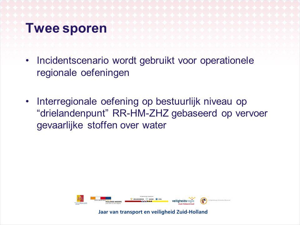 Twee sporen Incidentscenario wordt gebruikt voor operationele regionale oefeningen Interregionale oefening op bestuurlijk niveau op drielandenpunt RR-HM-ZHZ gebaseerd op vervoer gevaarlijke stoffen over water