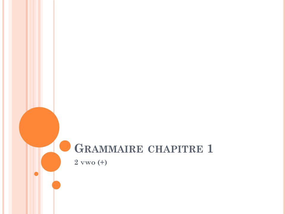 G RAMMAIRE CHAPITRE 1 2 vwo (+)